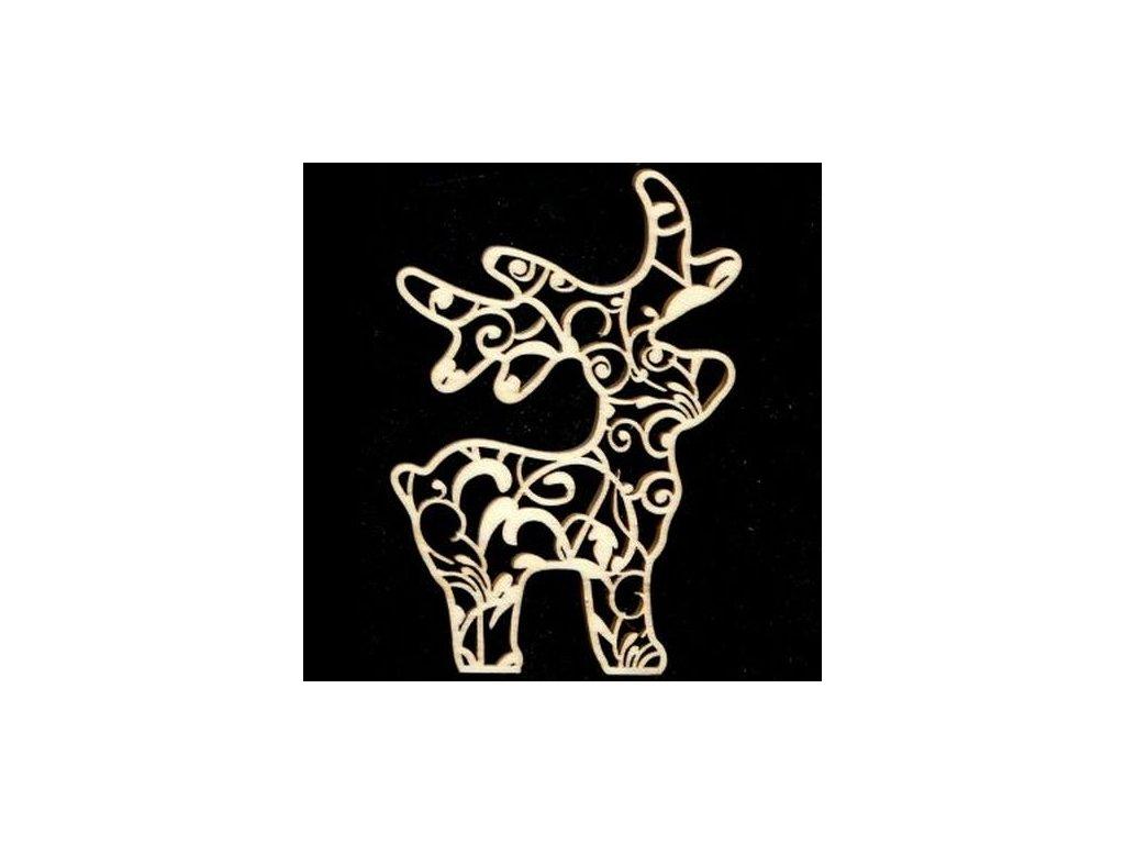 Dřevěná ozdoba jelen s ornamentem 9 cm