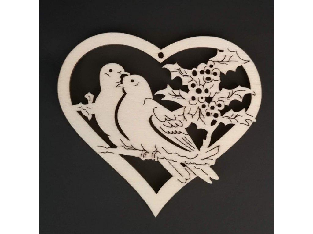 Dřevěná ozdoba srdce s ptáčky 7 cm