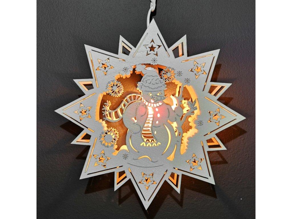 Dřevěná vánoční lampa závěsná anděl