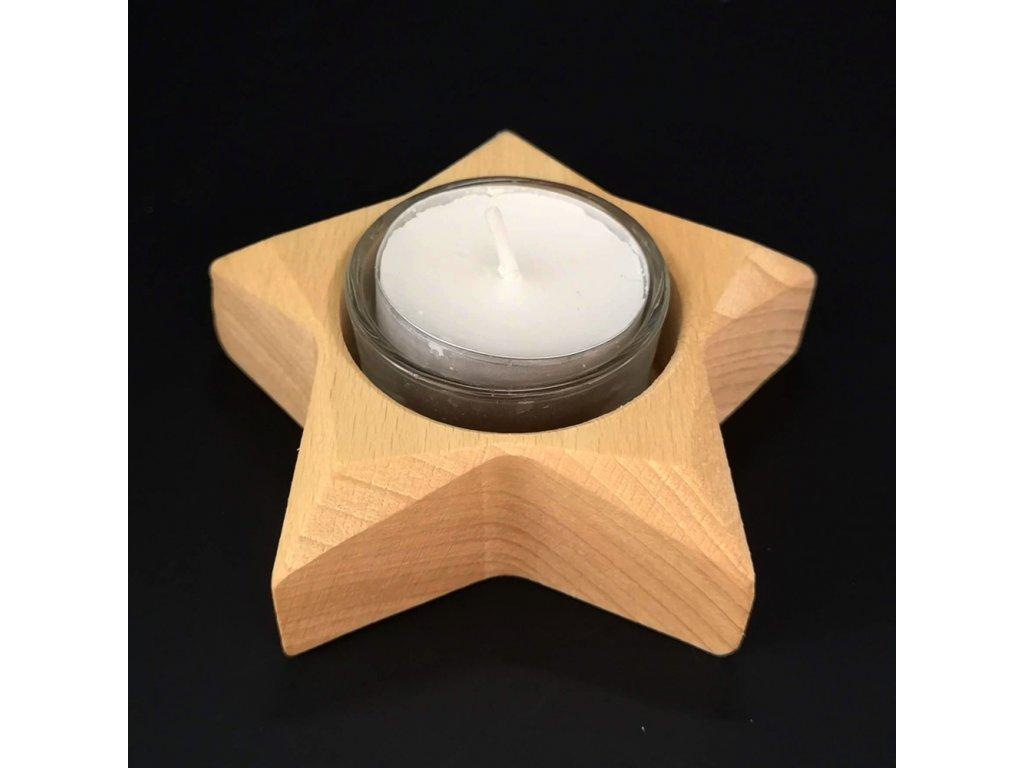 Dřevěný svícen ve tvaru hvězdy, masivní dřevo, 10x3 cm