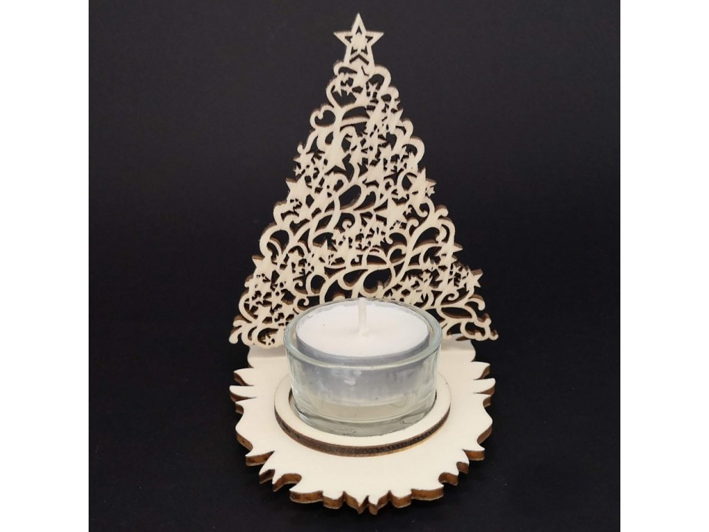 Vánoční dřevěný svícen stromek