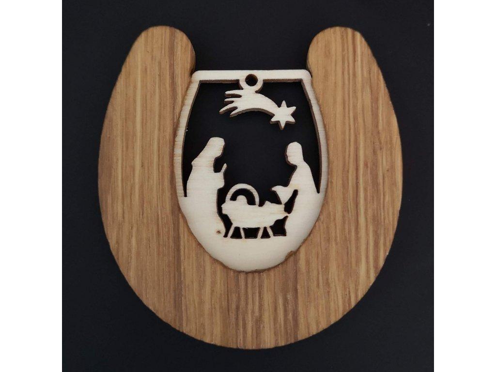 Dřevěná ozdoba z masivu s vkladem - podkova s betlémem 8 cm