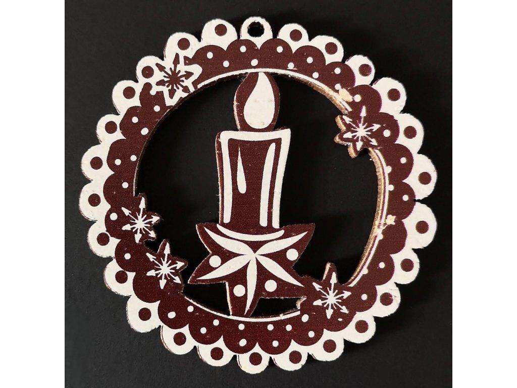 Dřevená ozdoba perníček tmavý - svíčka 6 cm