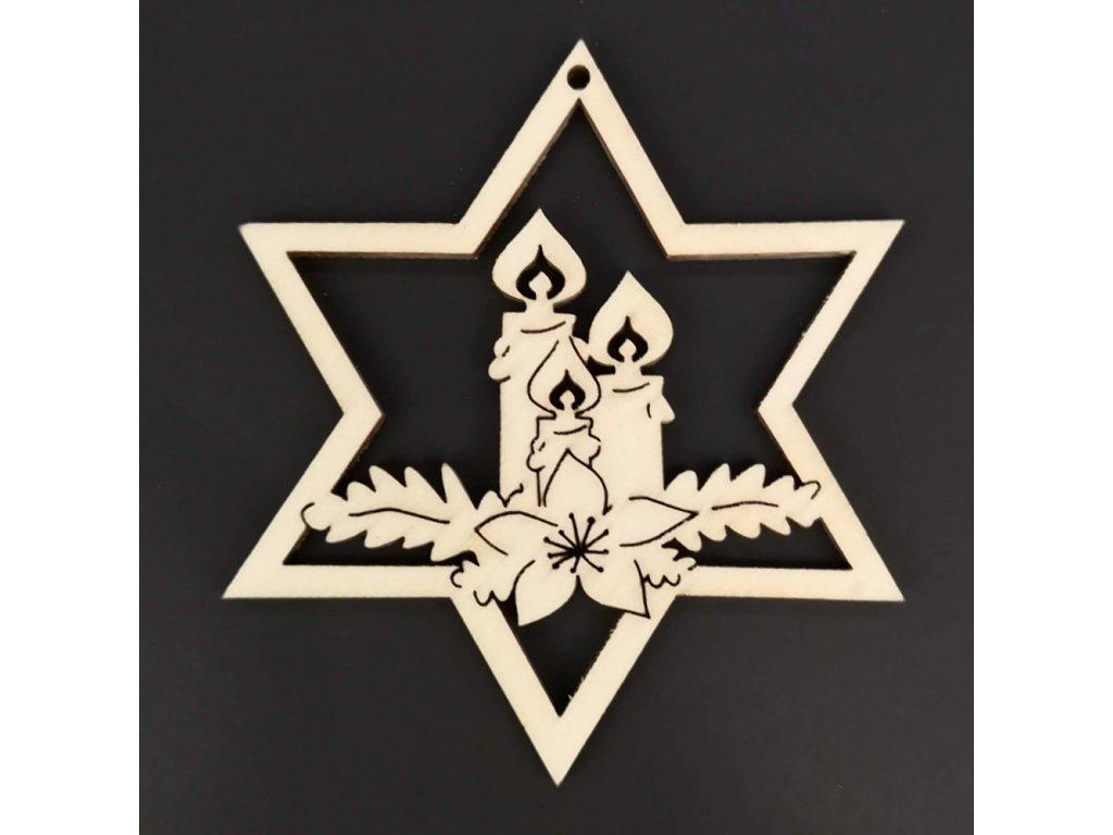 Dřevěná ozdoba hvězda se svíčkami 8 cm