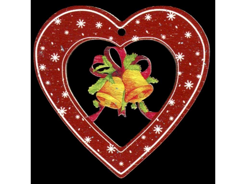 Dřevěná ozdoba barevná srdce se zvonky 6 cm