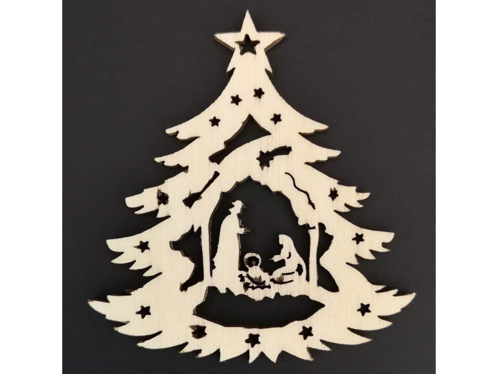 Dřevěná ozdoba stromek s betlémem 6 cm