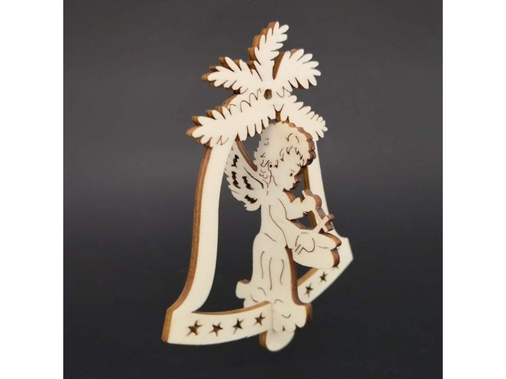Dřevěný 3D zvonek - anděl s bubínkem 9 cm