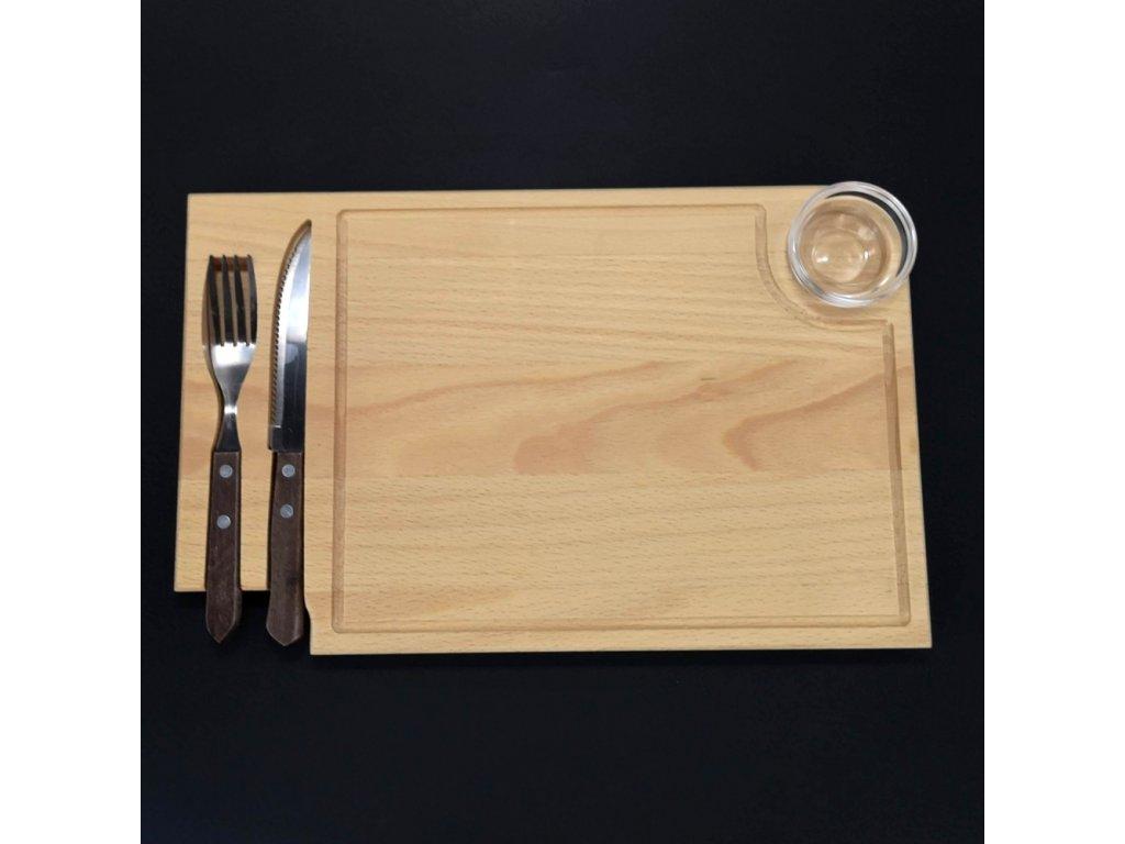 Dřevěné prkénko na steak s příborem a skleněnou miskou, masivní dřevo, 36x23x2 cm
