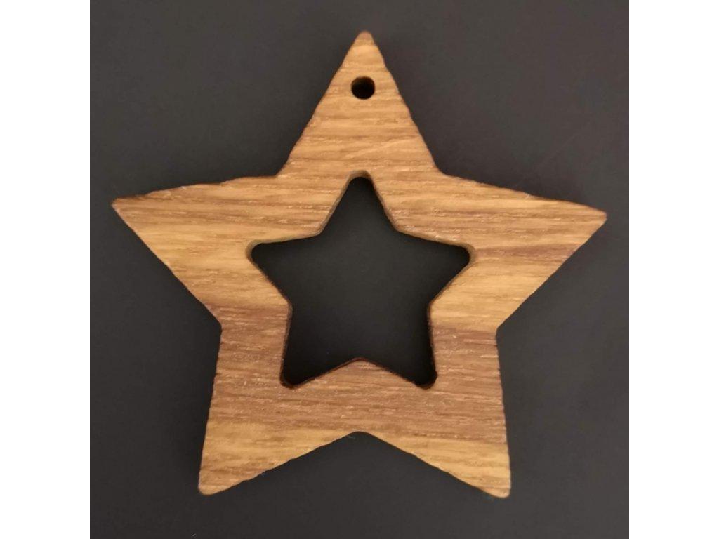 Dřevěná ozdoba z masivu - hvězda 6 cm