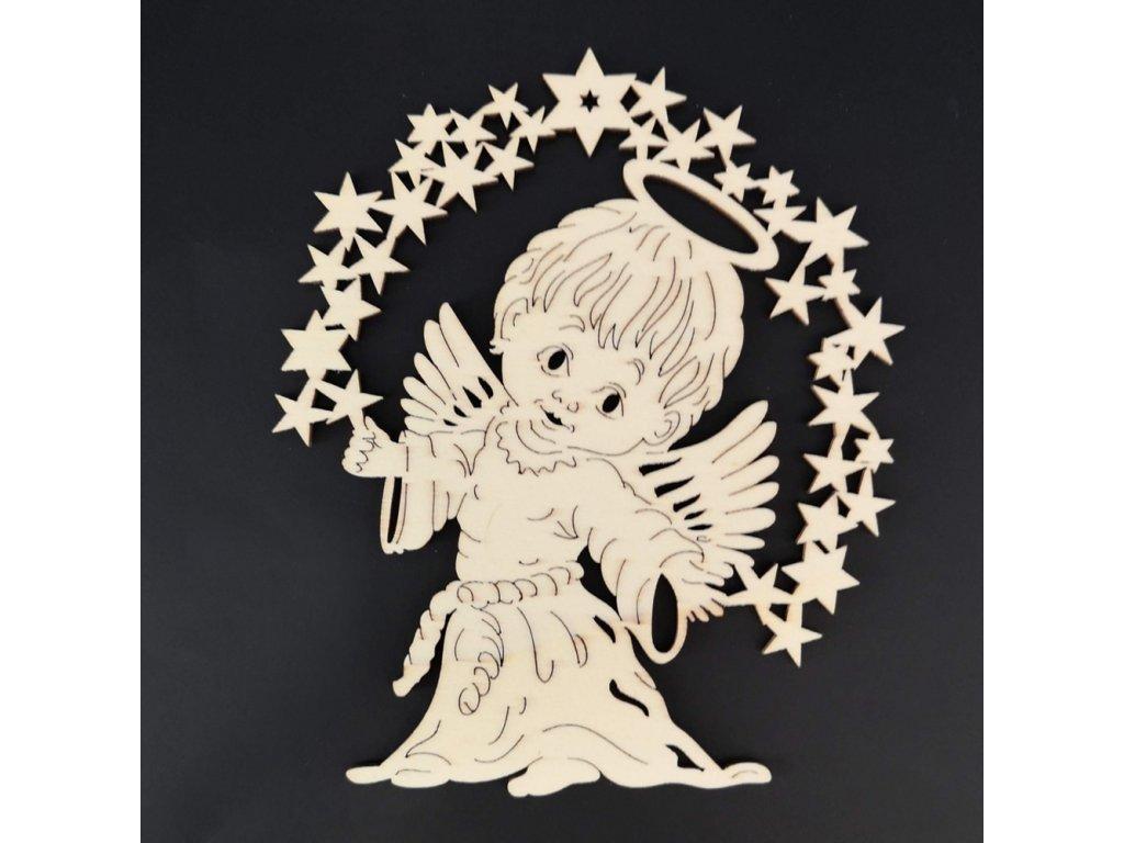 Dřevěná ozdoba anděl 15 cm