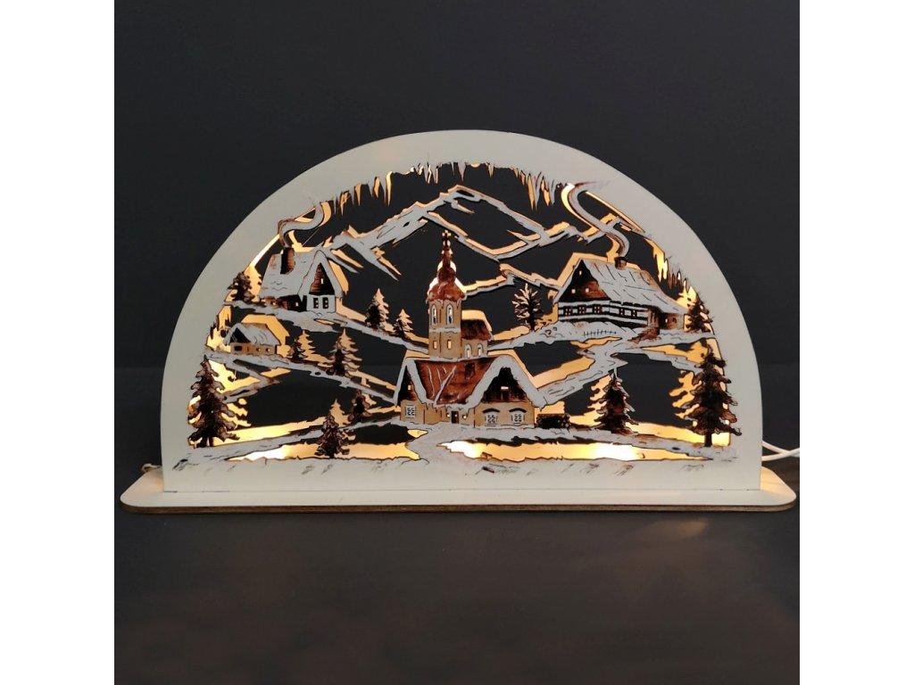 Dřevěný svítící portál s motivem vesničky, sépiový, 38 cm