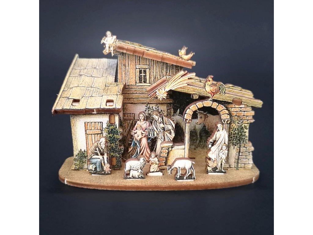Dřevěný skládací betlém  3D 6 cm