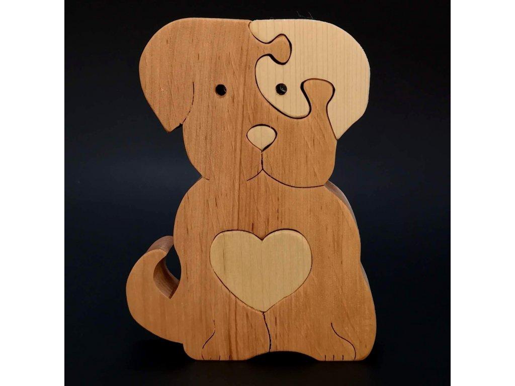 Dřevěné puzzle pes
