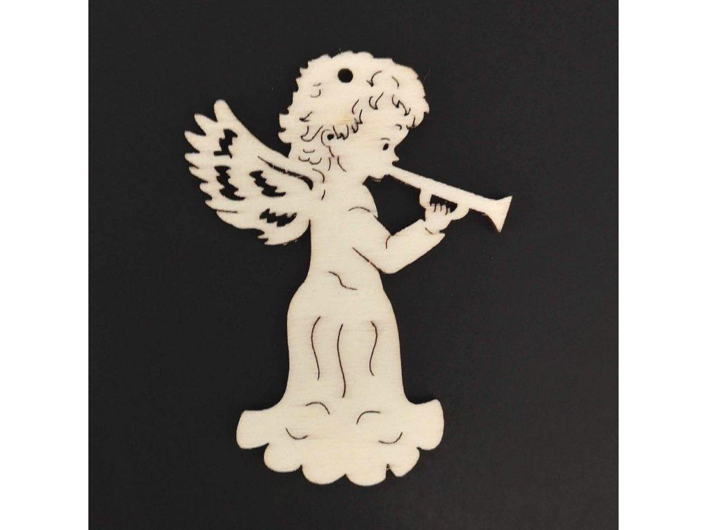 Dřevěná ozdoba anděl s trubkou 6 cm