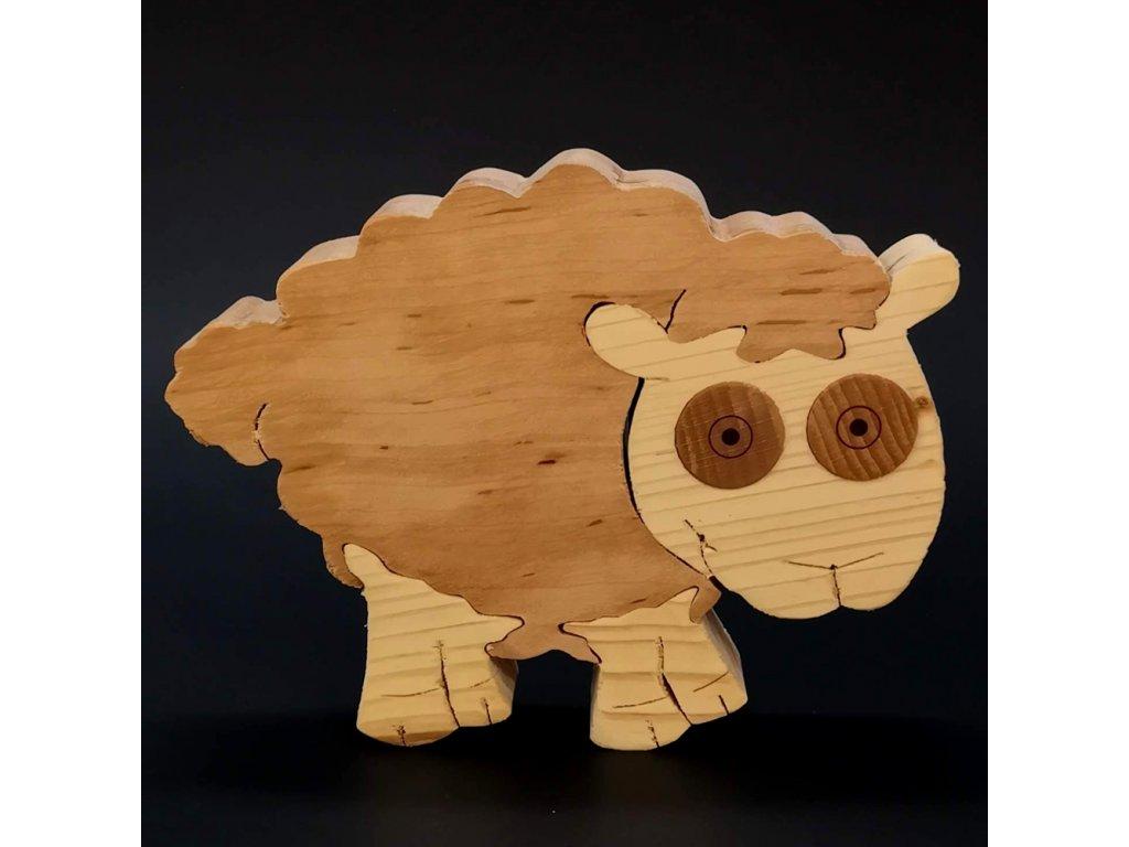 Dřevěné puzzle ovce, masivní dřevo dvou druhů dřevin, 15 cm