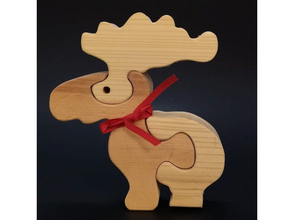 Dřevěné puzzle sob, masivní dřevo dvou druhů dřevin, 16 cm