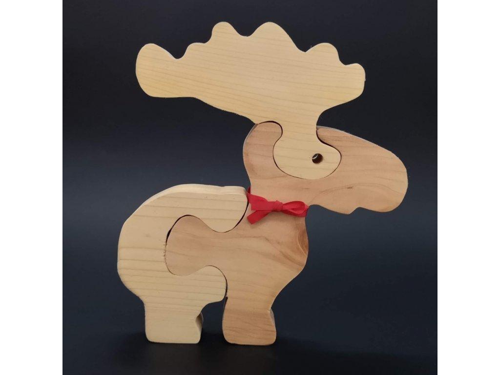 Dřevěné puzzle sob, masivní dřevo dvou druhů dřevin, 22 cm