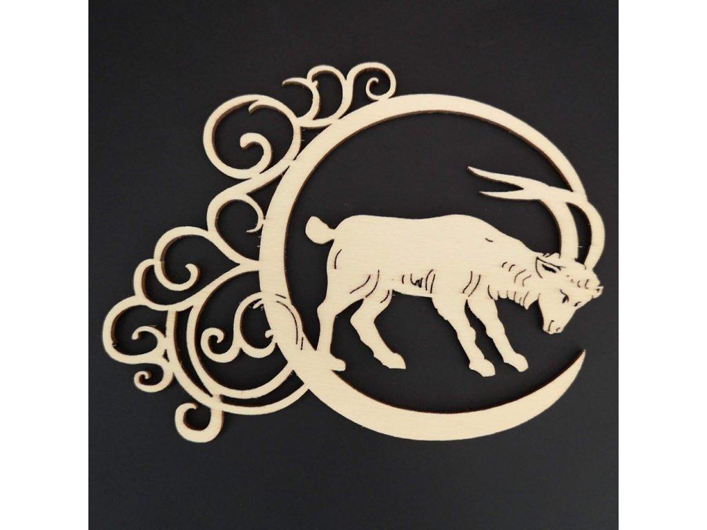 Dřevěná ozdoba - znamení kozoroh 13 cm