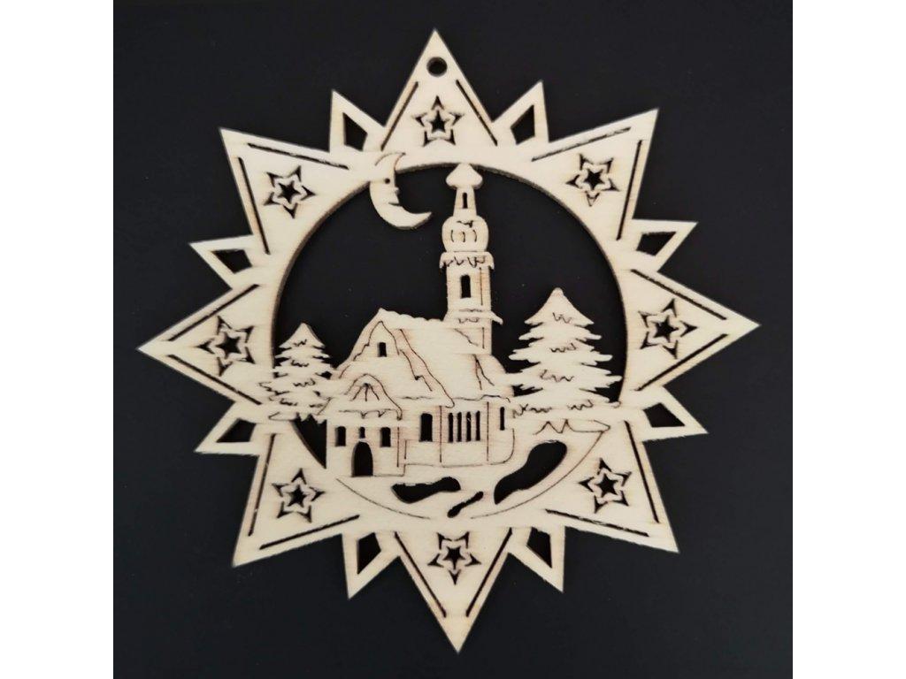 Dřevěná ozdoba hvězda s kostelem 9 cm