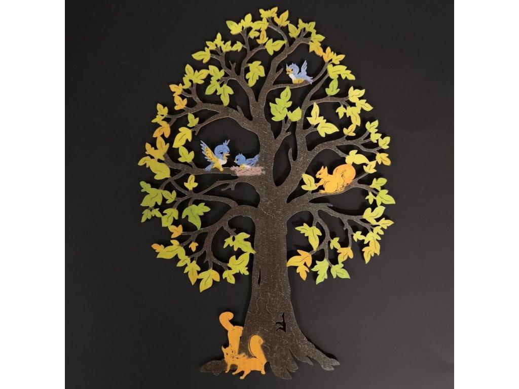 Dřevěný strom se zvířaty, barevná dekorace k zavěšení, výška 28 cm