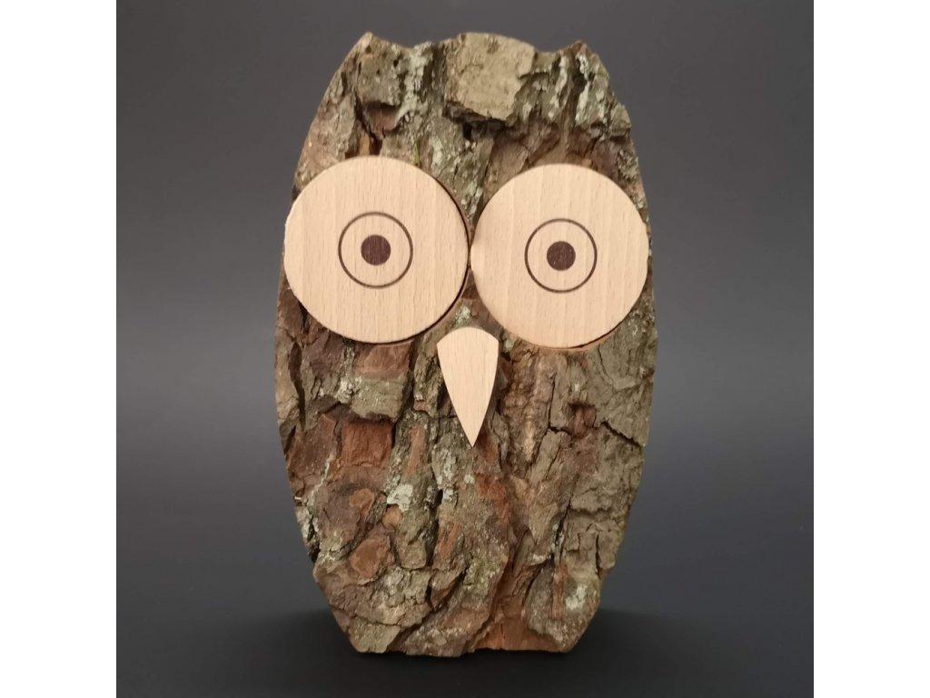 Dřevěná sova s kůrou, masivní dřevo, výška 15 cm