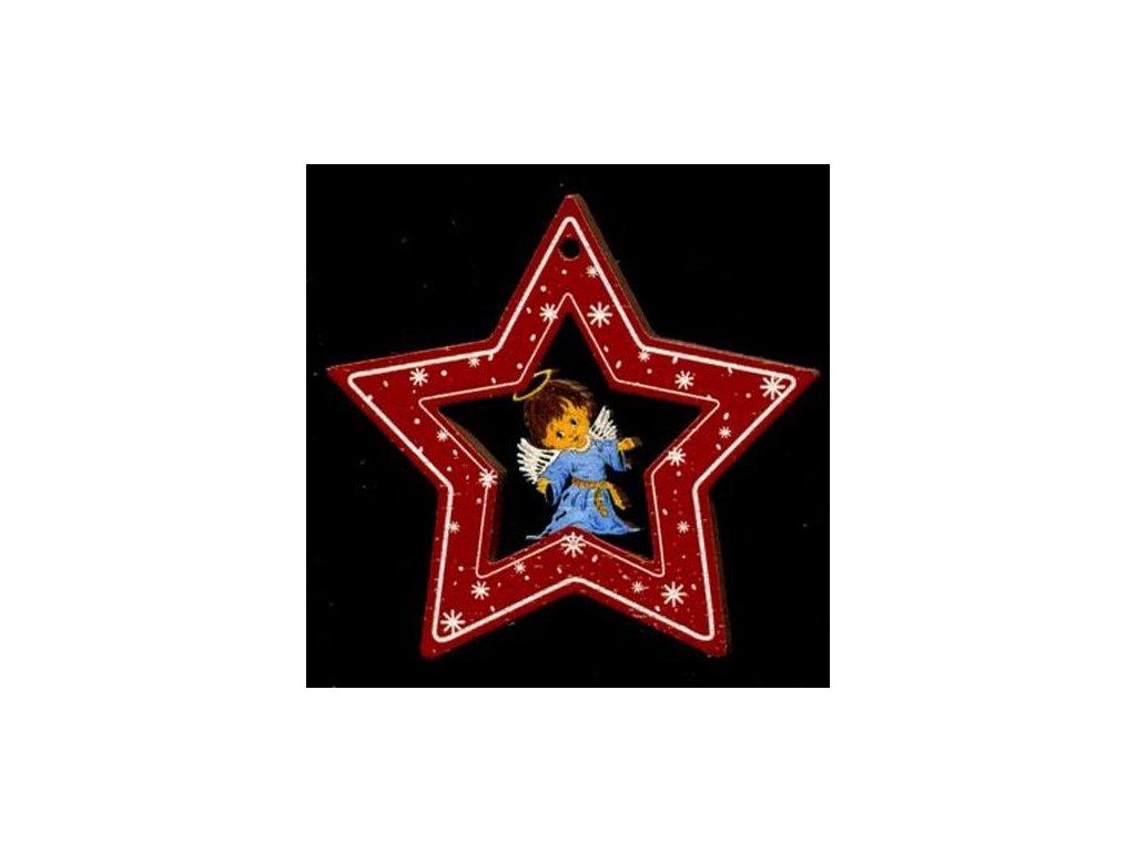 Dřevěná ozdoba barevná hvězda s andělem 6 cm