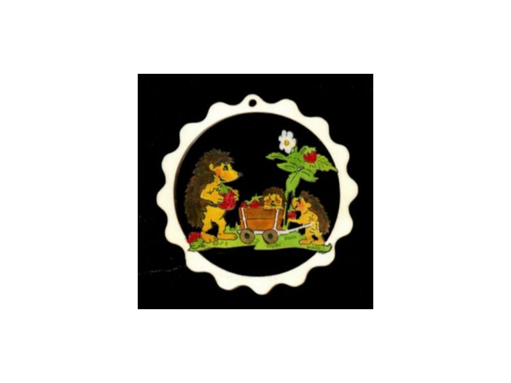 Dřevěná ozdoba barevná vlnka s ježky 9 cm