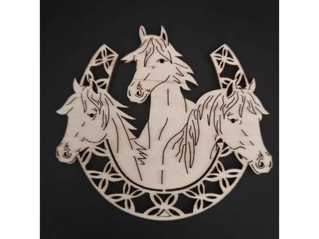 Dřevěná ozdoba koně v podkově 10 cm