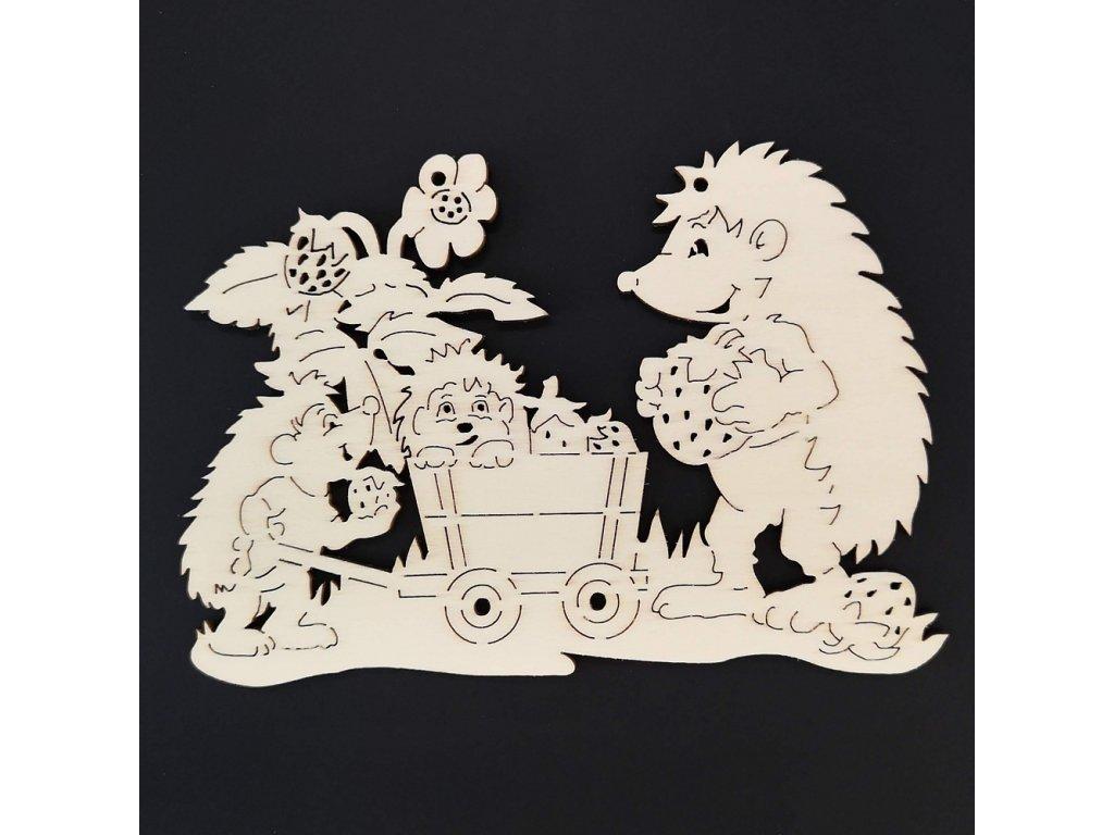 Dřevěná dekorace závěsná  ježci k vymalování