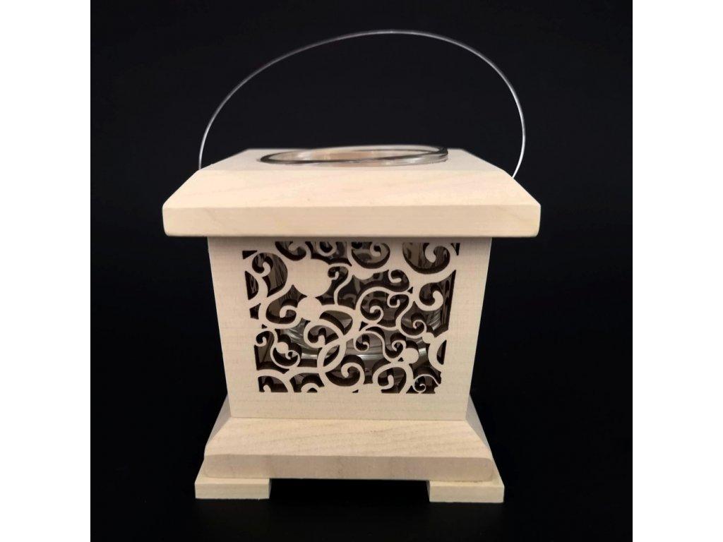 Dřevěná lucerna s ornamentem, masivní dřevo, 9x9x9 cm