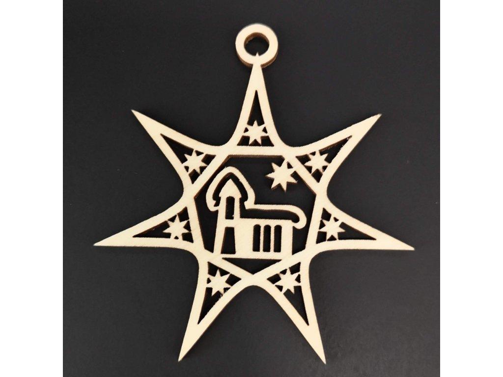 Dřevěná ozdoba hvězda s kostelem 8 cm