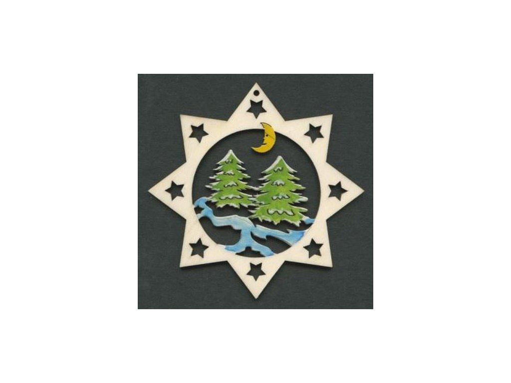 Dřevěná ozdoba barevná hvězda se stromy 9 cm