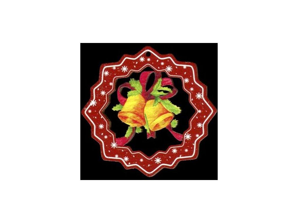Dřevěná ozdoba barevná vločka se zvonky 6 cm