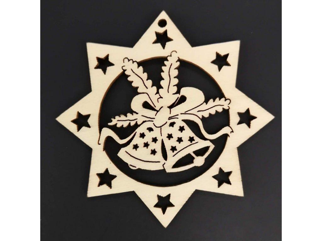 Dřevěná ozdoba hvězda se zvonky 6 cm