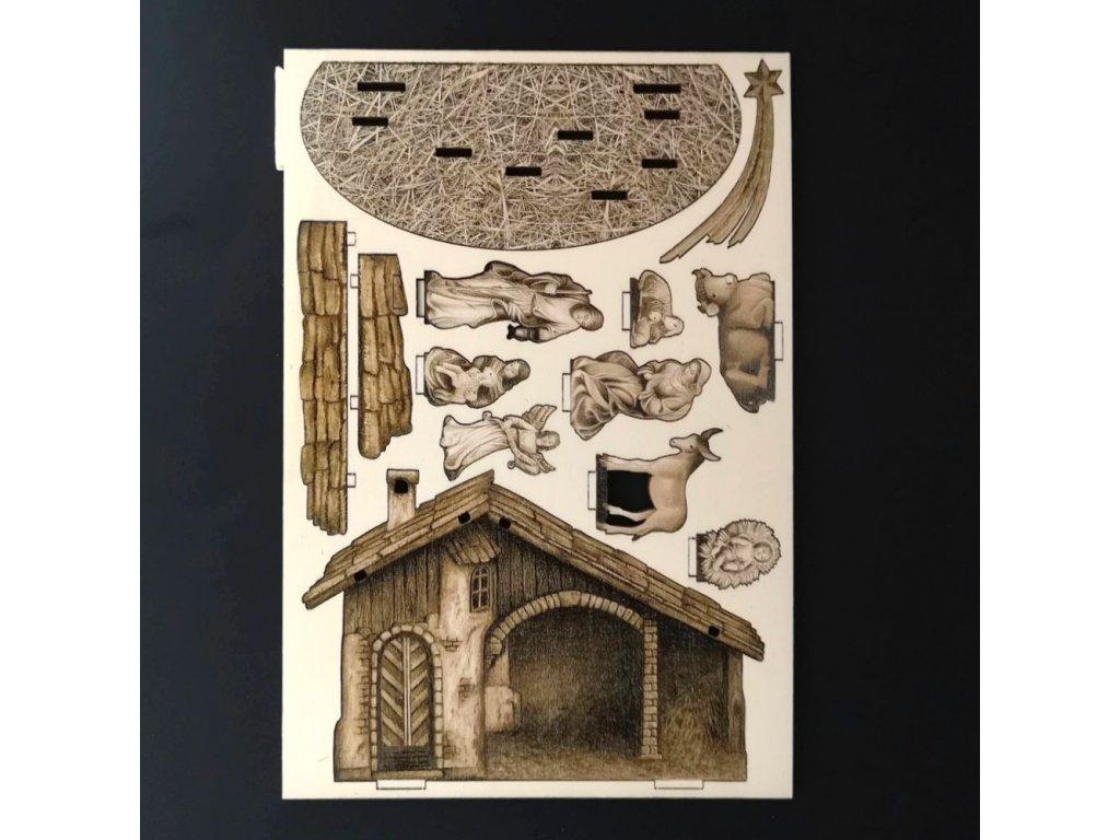Dřevěný 3D vylamovací betlém sépiový 14 cm