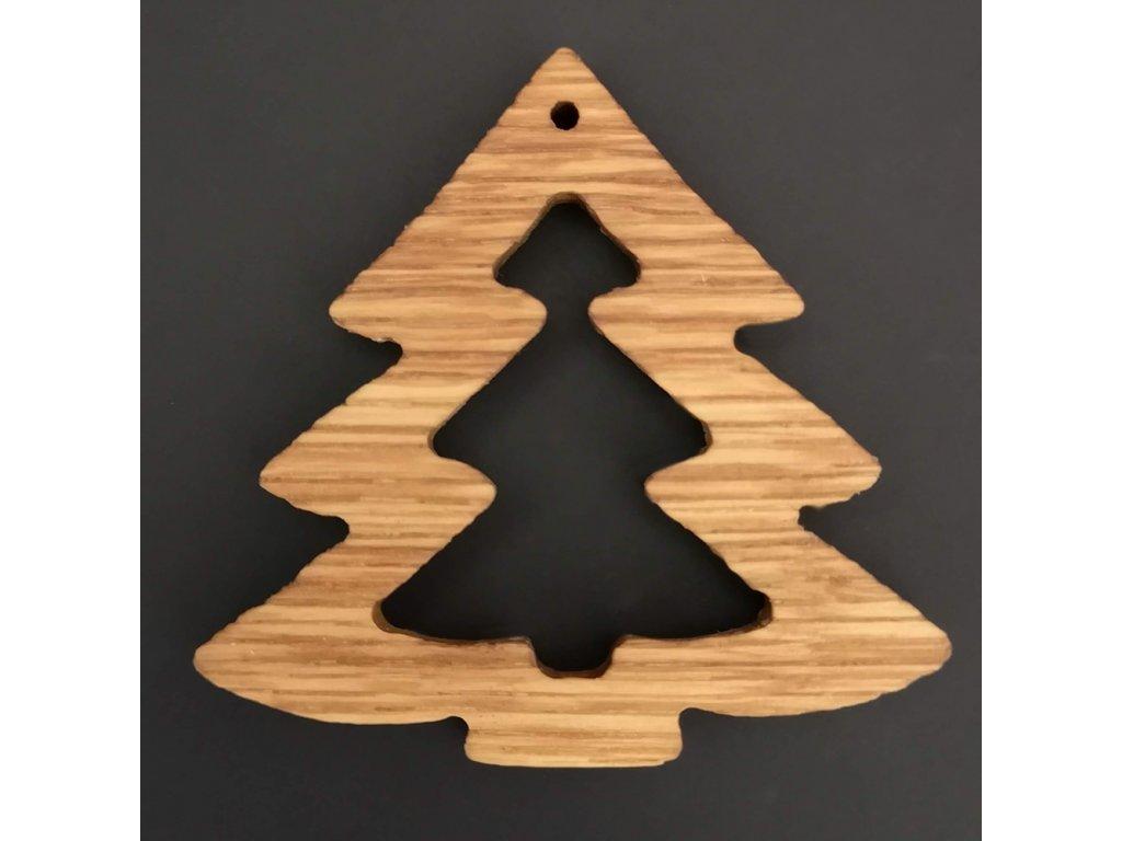 Dřevěná ozdoba z masivu - stromek 6 cm