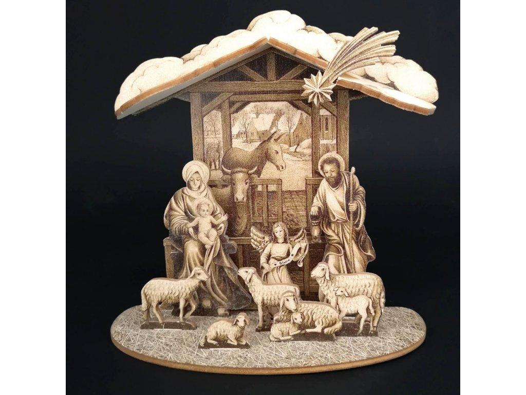 Dřevěný skládací betlém sépiový 3D 18 cm