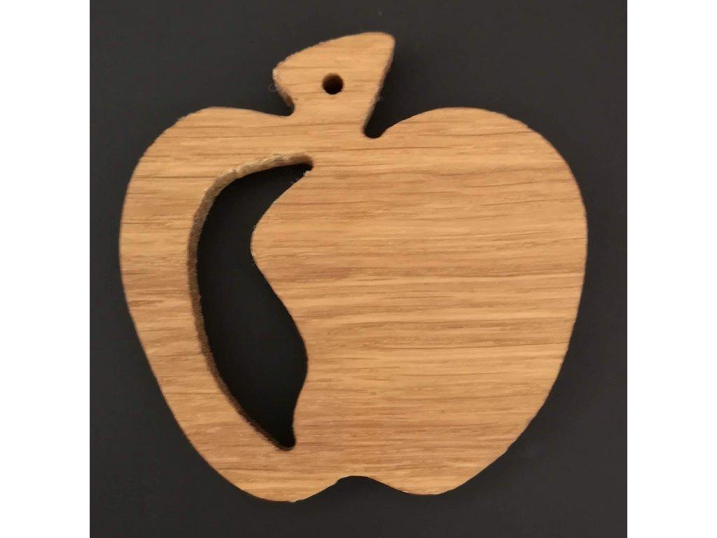 Dřevěná ozdoba z masivu prořezávaná - jablko 6 cm