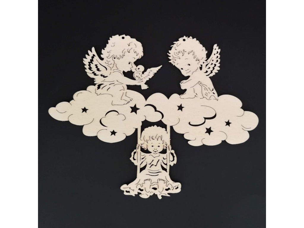 Dřevěná ozdoba andílci 20 cm
