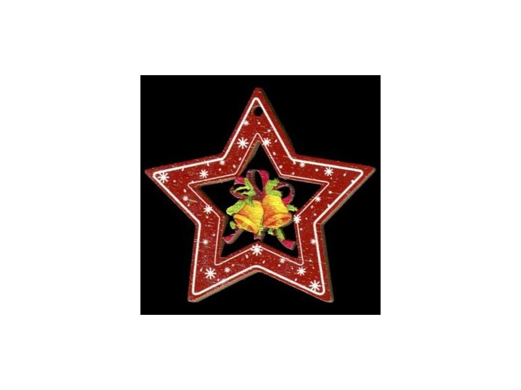 Dřevěná ozdoba barevná hvězda se zvonky 6 cm