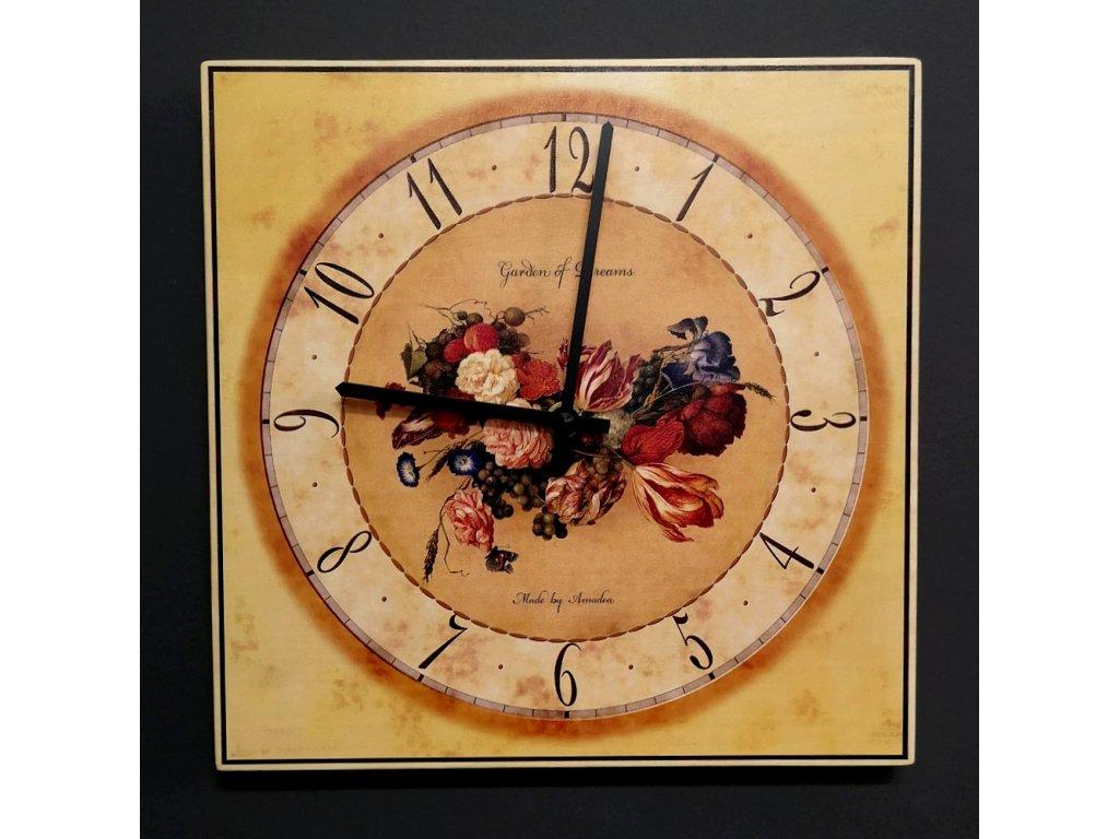 Dřevěné hodiny nástěnné hranaté s květy, masivní dřevo, 25x25 cm