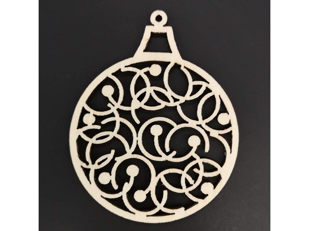 Dřevěná ozdoba koule s ornamentem 8 cm