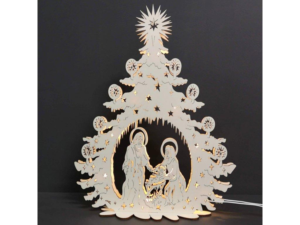 Dřevěný svítící portál strom s betlémem