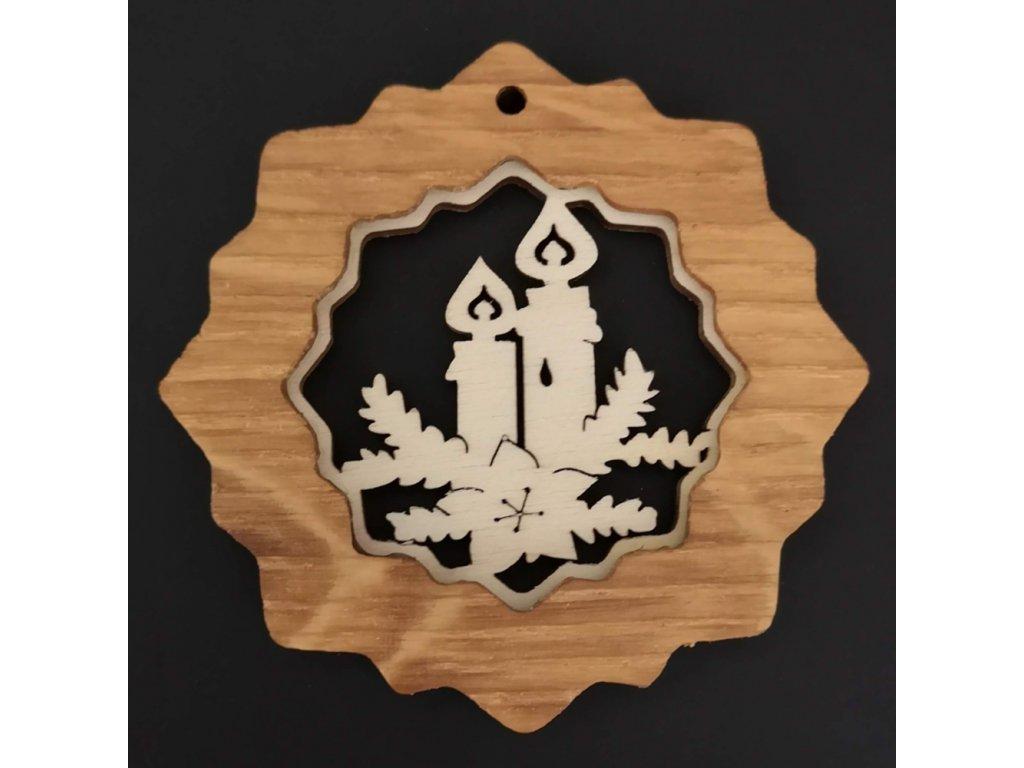 Dřevěná ozdoba z masivu s vkladem - vločka se svíčkami 7 cm