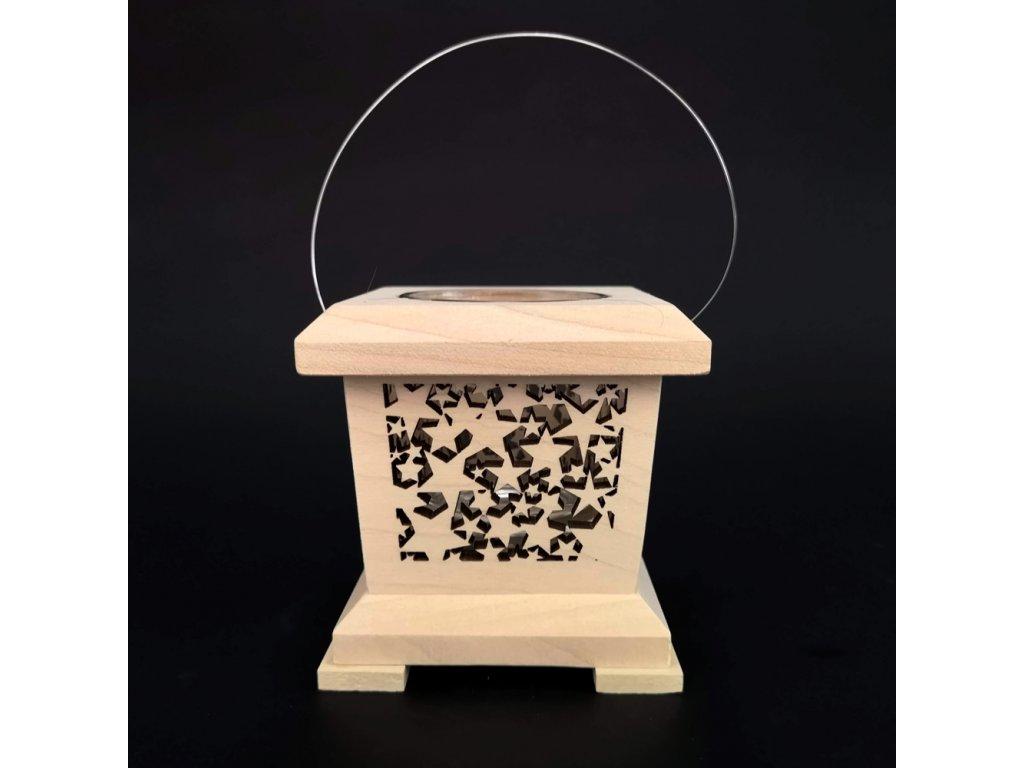 Dřevěná lucerna s motivem hvězd, masivní dřevo, 9x9x9 cm