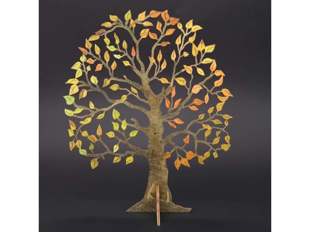 Dřevěný 3D strom barevný, výška 23 cm