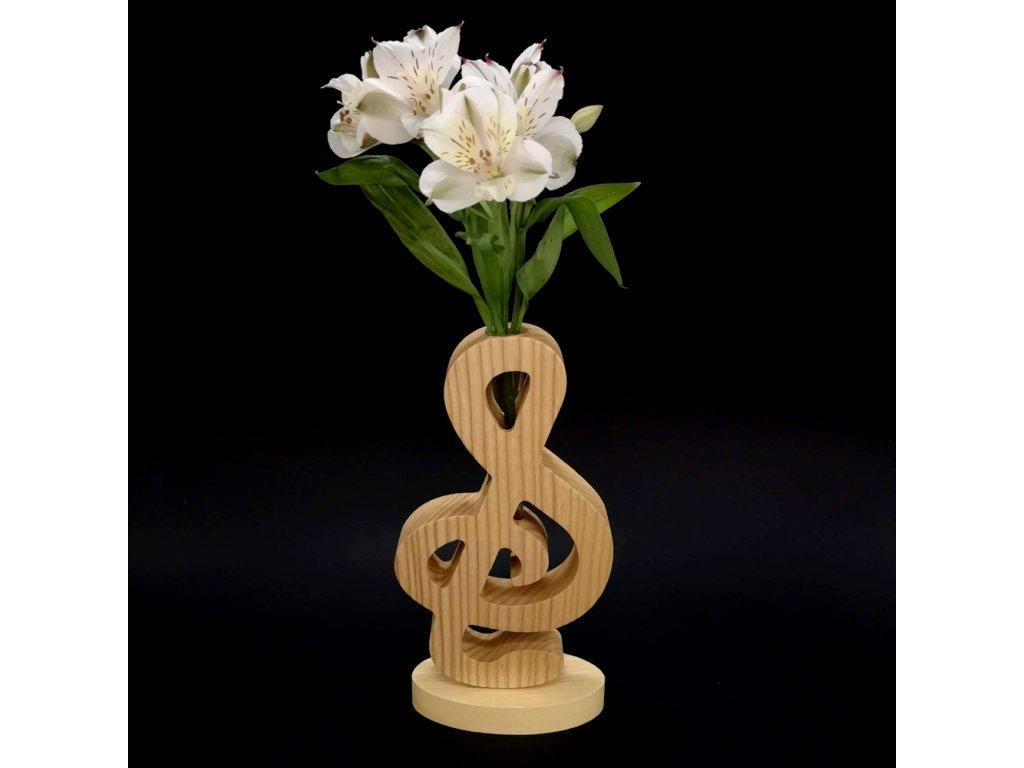 Dřevěná váza ve tvaru houslového klíče, masivní dřevo, výška 24 cm