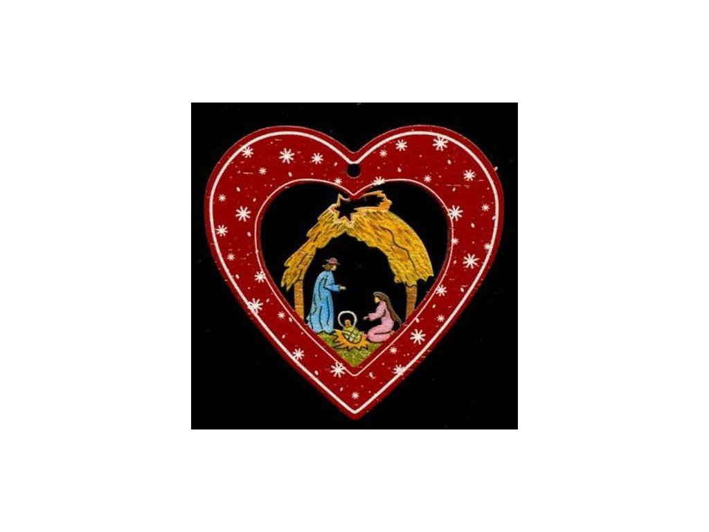 Dřevěná ozdoba barevná srdce s betlémem 6 cm
