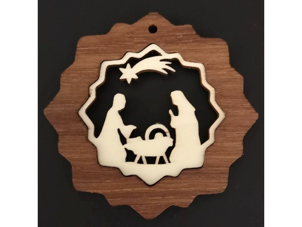 Dřevěná ozdoba z masivu s vkladem - vločka s betlémem 7 cm