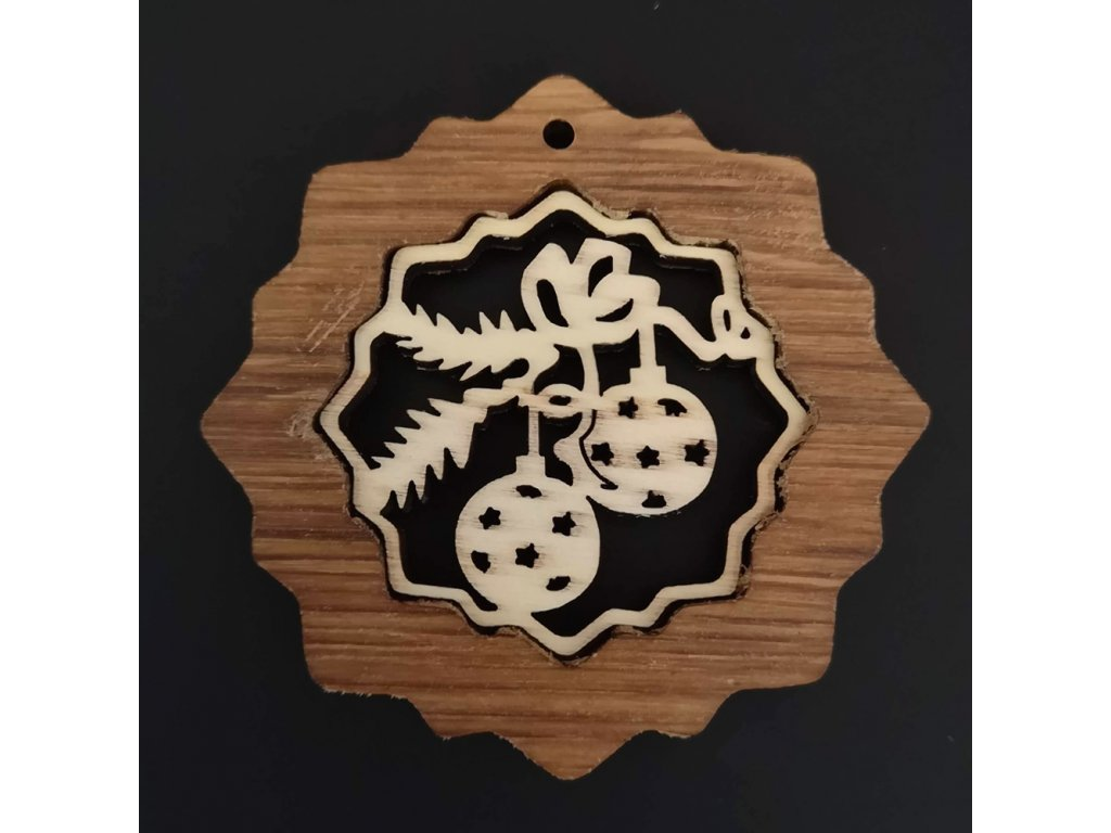 Dřevěná ozdoba z masivu s vkladem - vločka s koulemi 7 cm